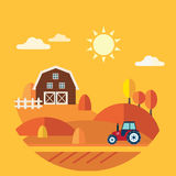 Flat Design Vector Concept of Farm Landscape Stock Photos