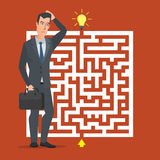 Flat design vector concept illustration. Businessman thinking. How pass maze. Choose the right path. Business cartoon concept. Vector creative color Stock Photos