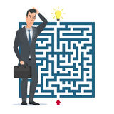 Flat design vector concept illustration. Businessman thinking. How to pass the maze. Choose the right path. Business cartoon concept. Vector illustration Stock Photography