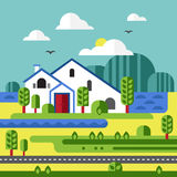 Flat Design Vector of Farm Landscape Stock Photography