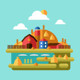 Flat Design Vector of Farm Landscape Royalty Free Stock Image