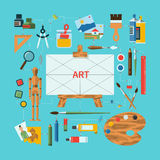 Flat design vector fine art concept. Flat design vector illustration fine art concept with icons of art supplies, art instruments for painting, drawing Stock Photos