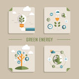 Flat design vector icons for green energy Royalty Free Stock Photo