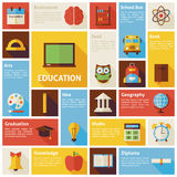 Flat Design Vector Icons Infographic Education Concept Royalty Free Stock Photography