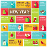 Flat Design Vector Icons Infographic Happy New Year Concept. Design elements for mobile and web applications with long shadow. Merry Christmas winter holiday stock illustration