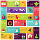 Flat Design Vector Icons Infographic Merry Christmas Concept Stock Photos