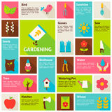 Flat Design Vector Icons Infographic Spring Gardening Concept Royalty Free Stock Photos