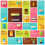 Flat Design Vector Icons Infographic Spring Nature Garden Concept Royalty Free Stock Photography