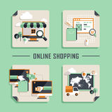 Flat design vector icons for online shopping Stock Photography