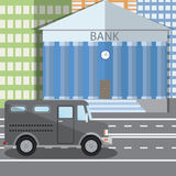Flat design vector illustration of bank building and parked bulletproof armored truck in flat design style, vector illustration Royalty Free Stock Images