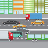 Flat design vector illustration of city traffic, Transportation Flat Icons. Trucks, Bus, taxi, limo, bank truck. Stock Images