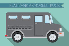 Flat design vector illustration city Transportation, bank armored Truck, side view Stock Photography