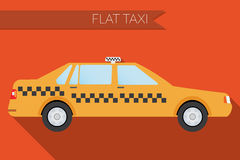 Flat design vector illustration city Transportation, city taxi, side view stock illustration