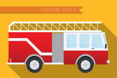 Flat design vector illustration city Transportation, fire truck, side view Stock Photography