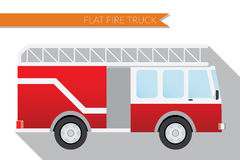 Flat design vector illustration city Transportation, fire truck, side view.  Stock Photo