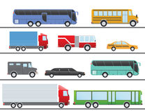 Flat design vector illustration city Transportation Flat Icons. Trucks, Bus, taxi, limo, fire truck, and school bus.  Royalty Free Stock Images