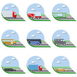 Flat design vector illustration city Transportation Flat Icons. Trucks, Bus, taxi, limo, fire truck, and school bus.  Stock Images