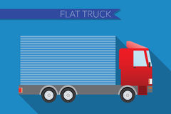 Flat design vector illustration city Transportation, small truck for transportation cargo, side view Royalty Free Stock Images