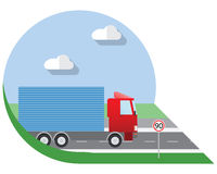 Flat design vector illustration city Transportation, small truck for transportation cargo, side view icon Stock Image