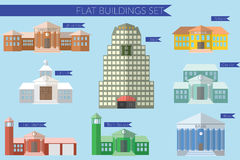 Flat design vector illustration concept for building education icons set. University fire station, bank, city hall, school Stock Photo
