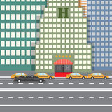 Flat design vector illustration concept for City Hotel and parked taxi and limousine, sityskape Stock Photography