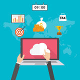 Flat design vector illustration concept for Cloud computing concept Royalty Free Stock Photography
