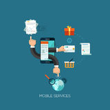 Flat design vector illustration concept for mobile. Services. Design elements for web and mobile applications, infographics and workflow layout Royalty Free Illustration