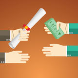 Flat design vector illustration concept for payed education pross. Concepts for hands byeing diploma scrollwith money. Stock Photo