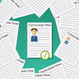 Flat design vector illustration concept for picking from Profiles Candidate to Hire. Choose man from Group of Business People. Stock Images