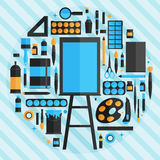 Flat design vector illustration concept of school and equipment Royalty Free Stock Photography