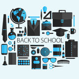 Flat design vector illustration concept of school and equipment Stock Photography