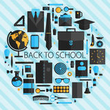 Flat design vector illustration concept of school and equipment Royalty Free Stock Images