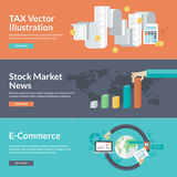 Flat design vector illustration concepts for business and finance. Concepts for finance, taxes, bookkeeping, accounting, monetary transaction taxes, stock market Royalty Free Stock Photos