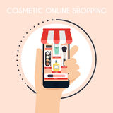 Flat design vector illustration concepts of online shopping. Han Stock Images