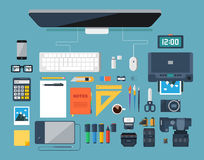 Flat design vector illustration of creative designer workplace. Top view. Stock Images