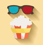 Flat design. Vector illustration of 3D cinema and. Popcorn. Vector illustration Royalty Free Stock Photo