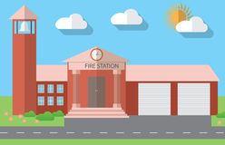 Flat design vector illustration of fire station building in flat design style, vector illustration Stock Photos