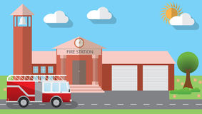 Flat design vector illustration of fire station building and parked fire truck in flat design style, vector illustration.  Royalty Free Stock Images