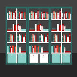 Flat design vector illustration of flat bookcase Royalty Free Stock Images