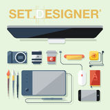 Flat design vector illustration of graphic designer items, tools and equipment. Stock Photos