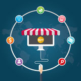 Flat design vector illustration icons of e-commerce symbols, marketing, online shopping Stock Photography
