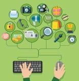 Flat design vector illustration icons set Royalty Free Stock Photo