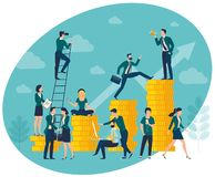 Flat design vector illustration of investment profit royalty free stock photography