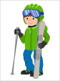 Flat design vector illustration of little boy from the mountain by ski equipped. Smiling happy skier  Stock Images