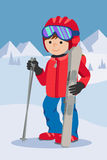 Flat design vector illustration of little boy from the mountain by ski equipped. Smiling happy skier with. Including Royalty Free Stock Images