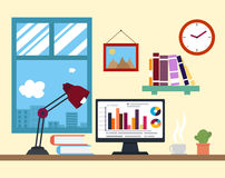 Flat design vector illustration of modern creative office worksp Royalty Free Stock Photos