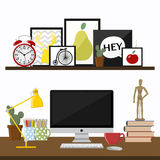 Flat design vector illustration of modern creative. Office workspace, with computer. The office of a creative worker Royalty Free Stock Image