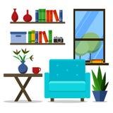 Flat design vector illustration of modern home office. Creativeinterior with armchair stock illustration