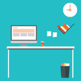 Flat design vector illustration of modern home office interior with designer desktop Stock Images