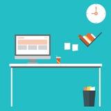 Flat design vector illustration of modern home office interior with designer desktop. EPS 10 Stock Images